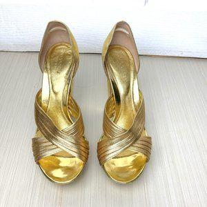 AMAZING EUC Gold Sergio Rossi Heels Size 37
